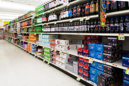 Frisdranken gangpad in een Amerikaanse supermarkt