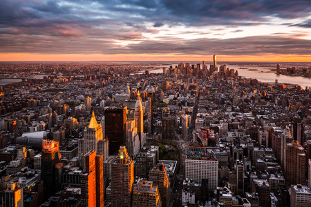 usa cityscape: Aerial view of the Manhattan skyline at sunset