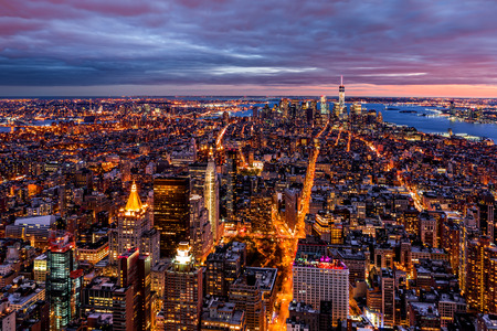 Aerial view over New York at dusk Stock Photo