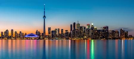 Toronto panorama at dusk viewed from Toronto Island Park