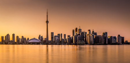 Toronto panorama at sunset viewed from Harbor Island Park photo