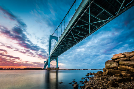 Bronx Whitestone Bridge at sunset 写真素材
