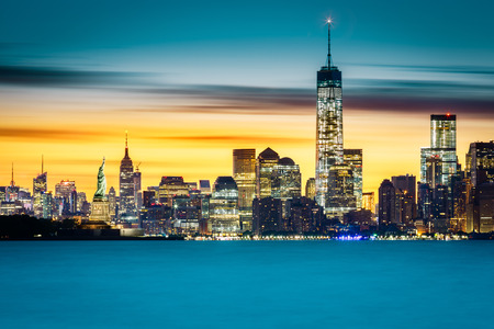 world trade center: Sunrise over New York City