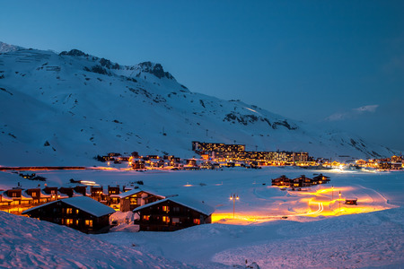 rhone: Tignes at blue hour  Tignes is a village and ski resort in the French Alps  Stock Photo
