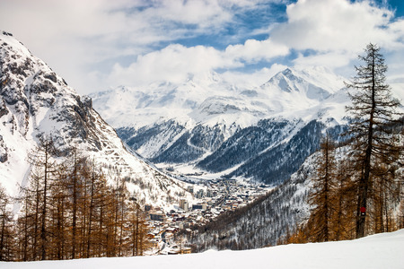 val: Top view over Val d Isere, a village and ski resort in the French Alps