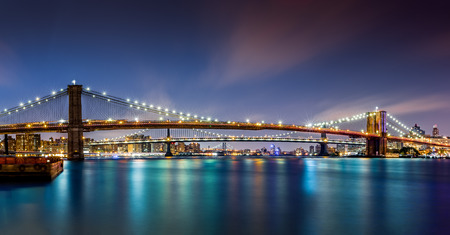 The Three Bridges  Brooklyn, Manhattan and Williamsburg bridges span across the East River between Manhattan and Brooklyn boroughs