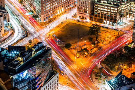 crossway: Top view in New York with traffic trails on Canal Street and Avenue of Americas Stock Photo