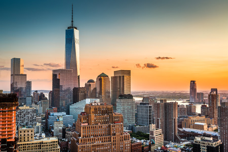 aerial view city: Lower Manhattan skyline at sunset Stock Photo