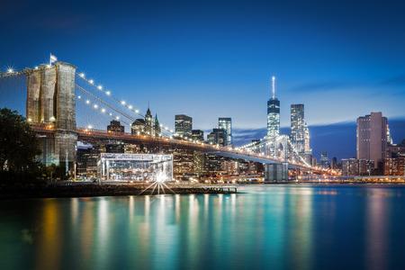 new york at night: Brooklyn Bridge at blue hour