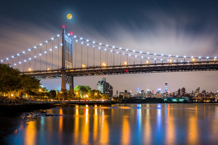 moon gate: Triboro Bridge by night in Astoria, Queens, New York Stock Photo