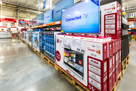 electronic store: V aisle in a Costco store. Costco Wholesale Corporation, a membership only warehouse club, is the second largest retailer in USA.