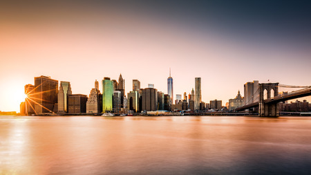Lower Manhattan skyline at sunset 版權商用圖片