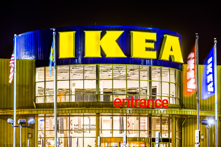 furniture store: IKEA store entrance. Founded in 1943, IKEA is the worlds largest furniture retailer