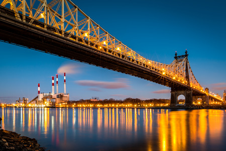 power: Ed Koch (aka Queensboro) bridge and the Ravenswood generating station as viewed from Roosevelt Island in New York