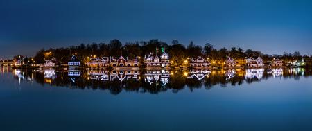 in a row: Philadelphia - Boathouse Row panorama by night