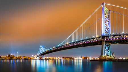 Ben Franklin Bridge and Philadelphia skyline by night as viewed from Camden across the Delaware river