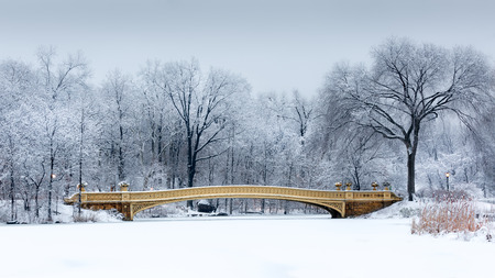 Dreamy winterscape with the Bow Bridge from Central Park, NYC at dawn, after a snow storm