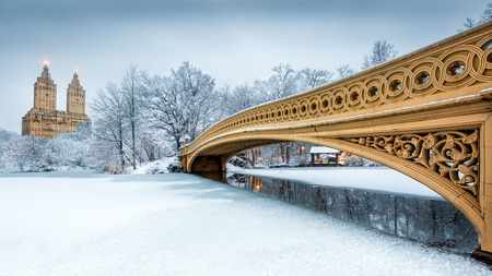 winter sunrise: Bow Bridge in Central Park, NYC at dawn, after a snow storm