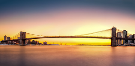 new york city panorama: Brooklyn Bridge panorama at sunset