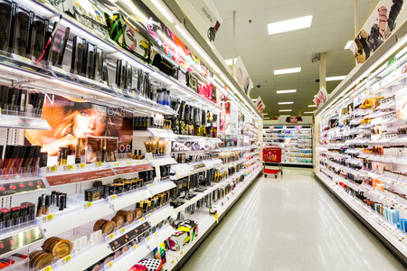 retailer: Shelves with cosmetics in a Target store. Target is the second-largest discount retailer in the United States.