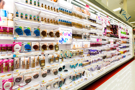 store display: Shelves with cosmetics in a Target store. Target is the second-largest discount retailer in the United States.