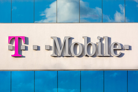 Facade of the T-Mobile USA regional headquarters. T-Mobile US is a subsidiary of T-Mobile International AG. It provides wireless voice, messaging, and data services in USA.