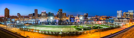 Baltimore skyline panorama at dusk, as viewed from Federal Hill photo