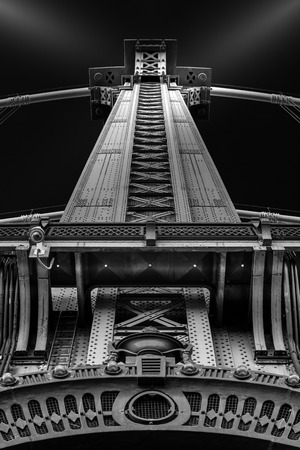 manhattan bridge: Detail of the Manhattan Bridge metallic pillar - fine art photography