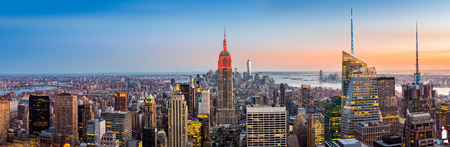 office view: New York skyline panorama at sunset