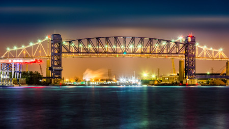 new jersey: Goethals Bridge and Arthur Kill Lift bridge by night. The Goethals Bridge and Arthur Kill railroad lift bridge connect Elizabeth NJ to Staten Island NY over the Arthur Kill.