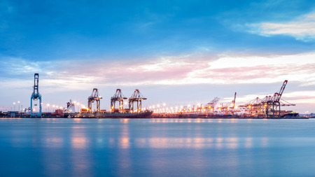 Port NewarkElizabeth marine terminal viewed from Bayonne NJ across Newark Bay. Stock Photo