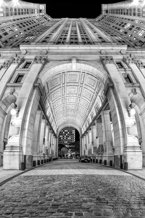 convergence: Manhattan Municipal building. Manhattan Municipal building is one of the largest governmental buildings in the world  vertical panorama with fisheye effect. Stock Photo