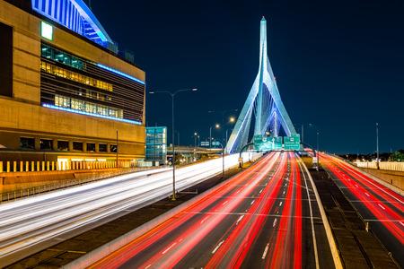 night traffic: Rush hour traffic on Zakim Bunker Hill bridge in Boston, MA