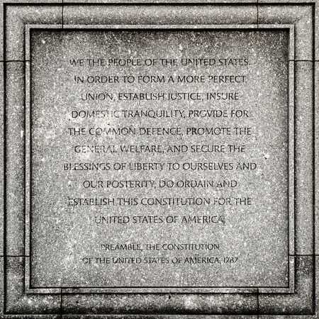 preamble: Outdoor detail of the John Joseph Moakley United States Courthouse in Boston - Preamble of the USA constitution