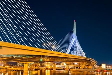 boston cityscape: Zakim Bunker Hill bridge in Boston, MA by night