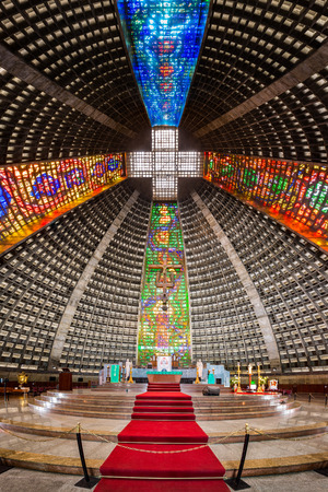 rio: Interior of the metropolitan cathedral. The church is dedicated to Saint Sebastian, the patron saint of Rio de Janeiro