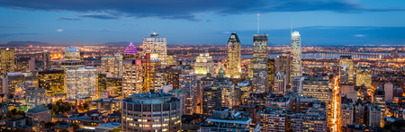 aerial view city: Montreal panorama at dusk as viewed from the Mount Royal