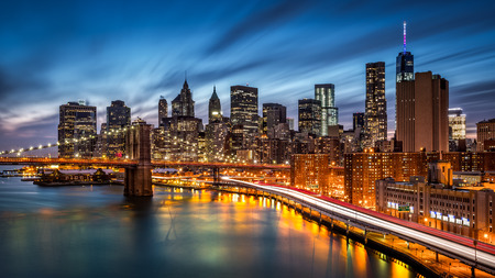 scenic drive: Brooklyn Bridge and the Lower Manhattan at dusk