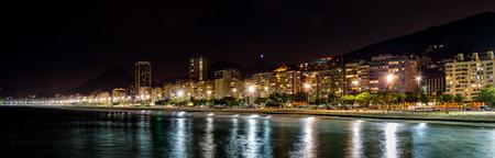beach panorama: Copacabana Beach panorama by night, in Rio de Janeiro, Brazil