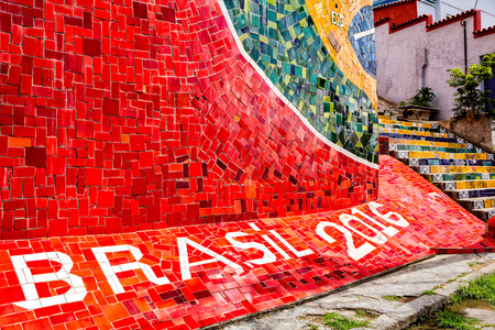 rio de janeiro: Escadaria Selaron is a set of world-famous steps. A detail anticipates Rios 2016 olympic games.