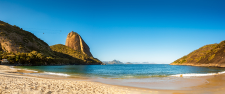 sandy beach: Vermelha Beach and Sugar Loaf panorama, late afternoon, Urca neighborhood, Rio de Janeiro, Brazil Stock Photo