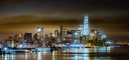 weehawken: Lower Manhattan on a cloudy night, viewed from Weehawken, New Jersey Stock Photo