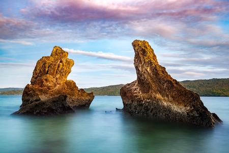 formations: Two huge rocks near Cayo Levantado island, Dominican Republic