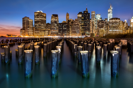 pier: New York Financial District with Freedom Tower still under construction and an old Brooklyn pier Stock Photo