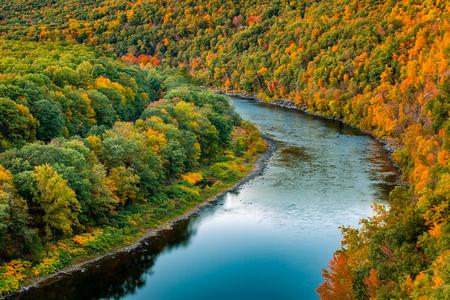 cenital: alta del río Delaware dobla a través de un bosque de colores del otoño, cerca de Port Jervis, Nueva York