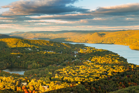 rural landscape: Hudson Valley and Fort Montgomery, NY viewed from Bear Mountain on a sunny autumn afternoon.
