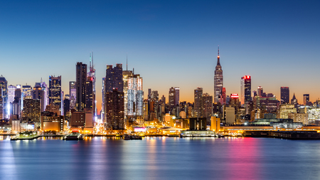 weehawken: New York City skyline at dawn, as viewed from Weehawken, along the 42nd street canyon