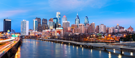 Philadelphia skyline panorama at dusk.