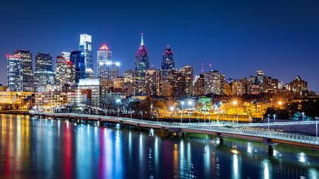 夜フィラデルフィア スカイライン 写真素材