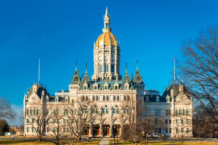 administrative buildings: Connecticut State Capitol on a sunny afternoon.  The building houses the State Senate, the House of Representatives and the office of the Governor Stock Photo